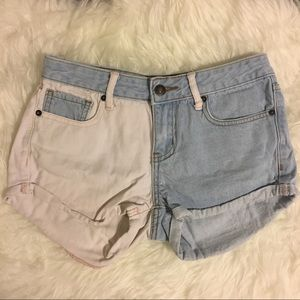 Pink and Blue Denim Shorts
